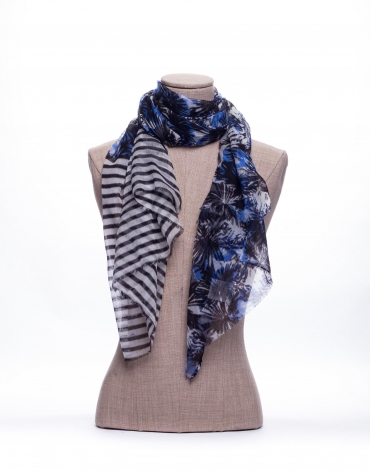 Combined print and striped scarf
