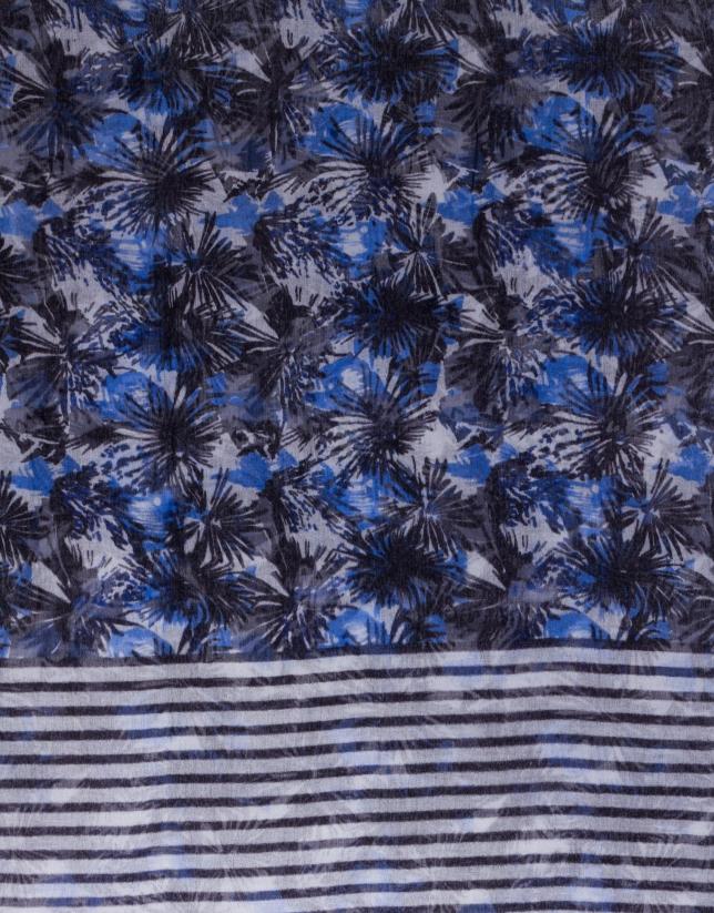Foulard combinado estampado y rayas