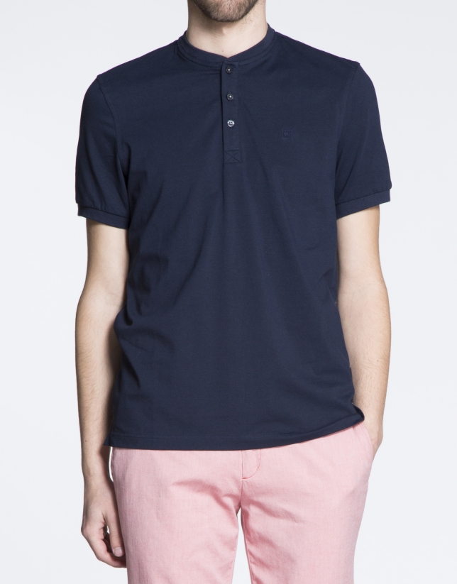 Plain navy blue V-neck top