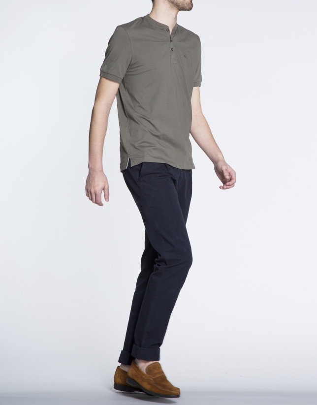 Plain khaki V-neck top