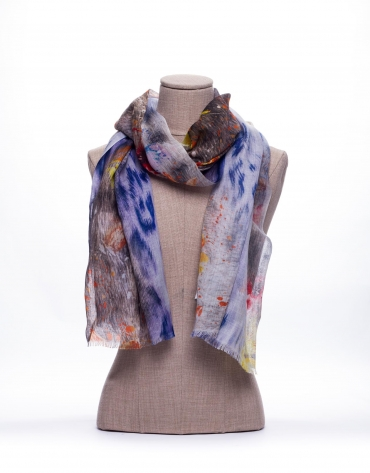Animal and flower print scarf