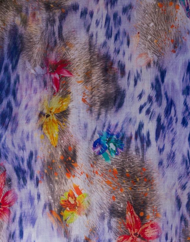 Foulard estampado mancha animal y flores