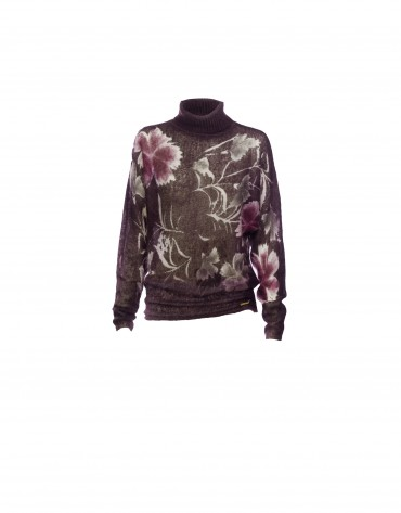Mohair floral print wine pullover
