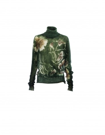 Mohair floral print green pullover