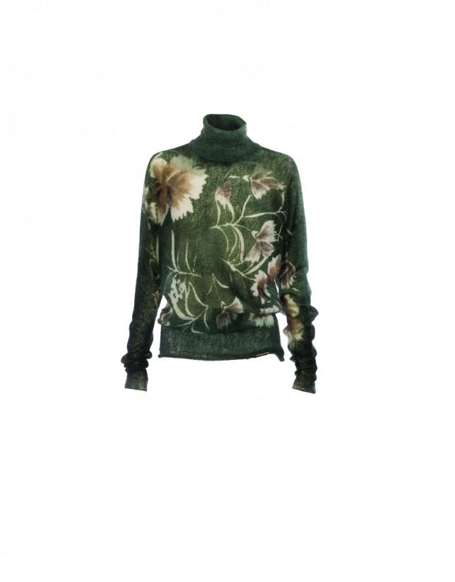 Jersey cuello cisne printed verde