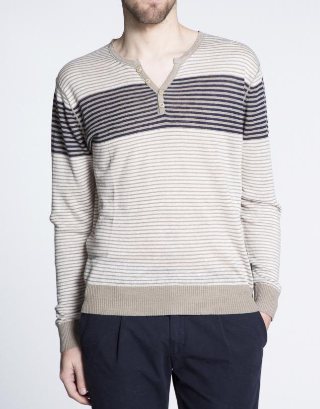 Light beige striped V-neck top