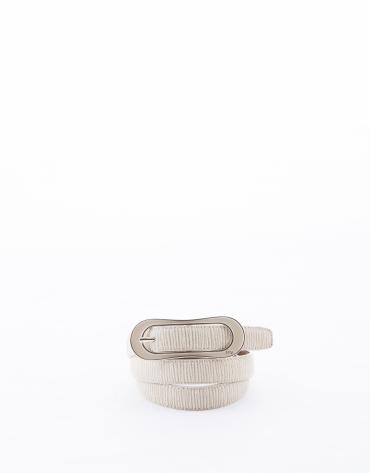 Narrow beige leather belt