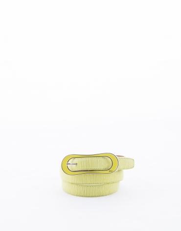 Narrow mustard leather belt