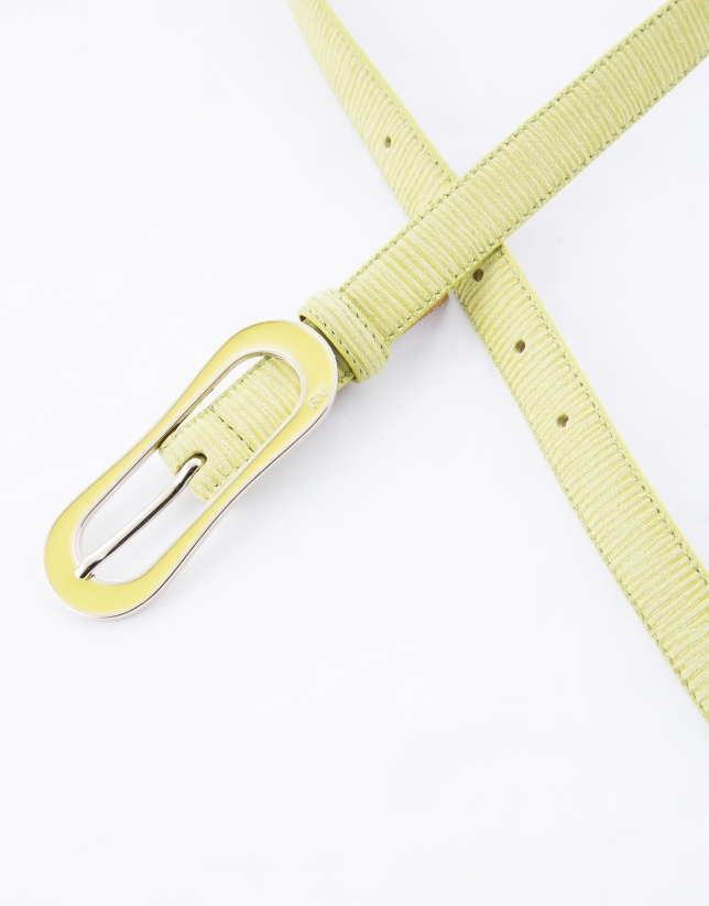 Narrow mustard leather belt