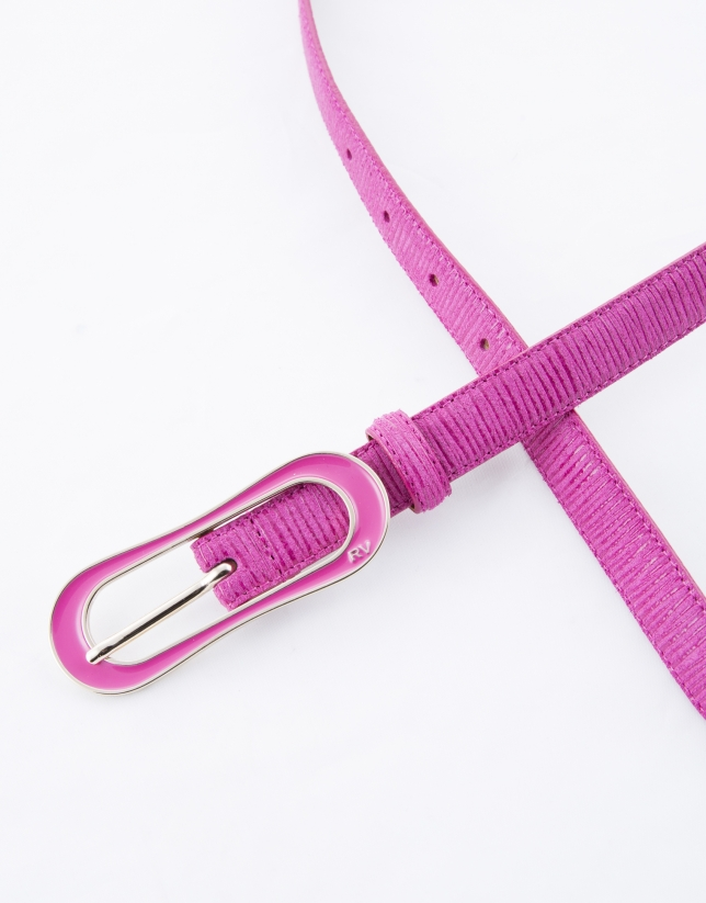 Narrow fuchsia leather belt