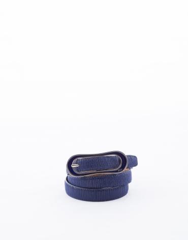 Cinturón estrecho piel azul noche