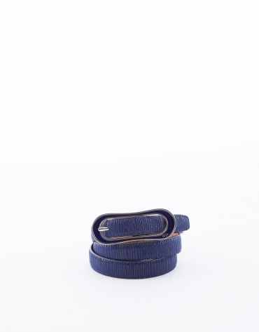 Narrow midnight blue leather belt
