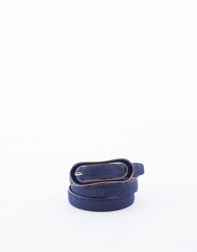 Narrow midnight blue leather belt