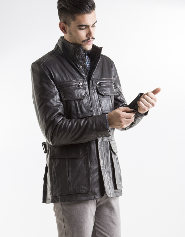 Brown leather parka