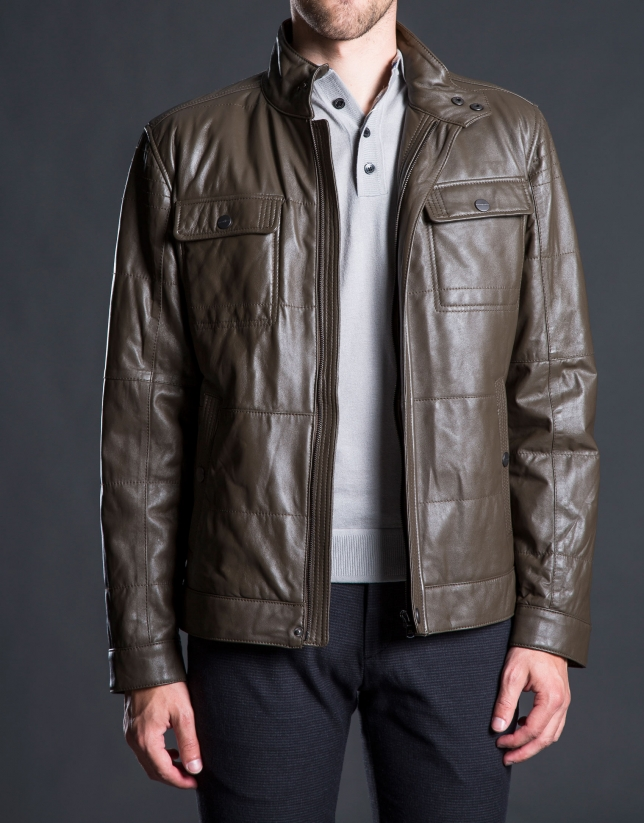 Khaki leather Bomber jacket with pockets