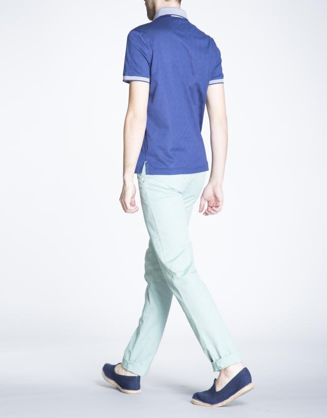 Navy blue rhombus print jacquard top
