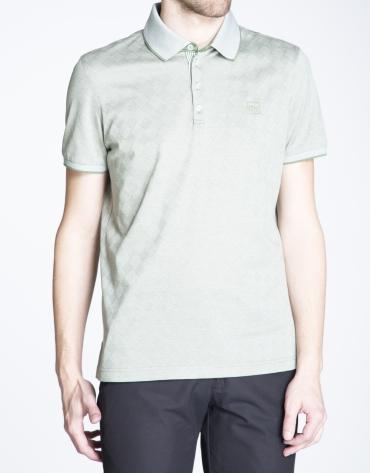Khaki rhombus print jacquard top