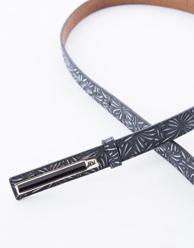 Narrow black leather belt