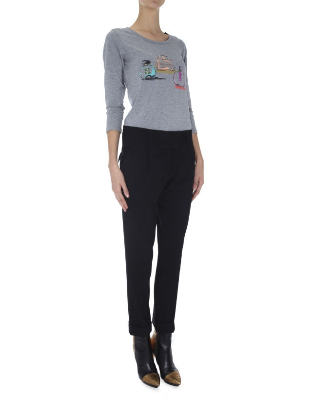 Pantalon à pinces en laine noir