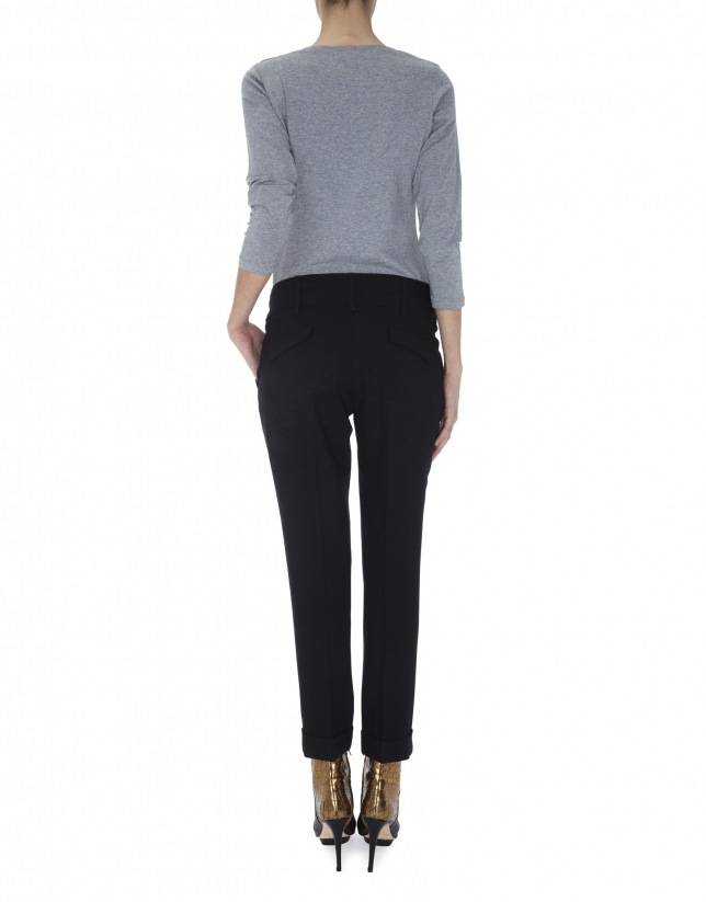 Pantalón pinzas lana negro