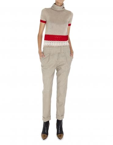 Pantalón pinzas lana beige