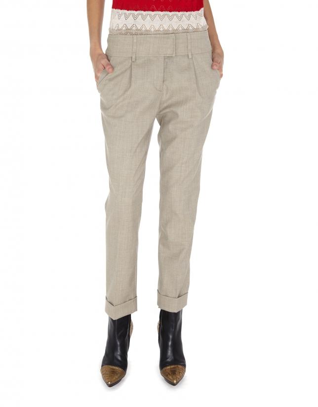 Pantalon à pinces en laine beige