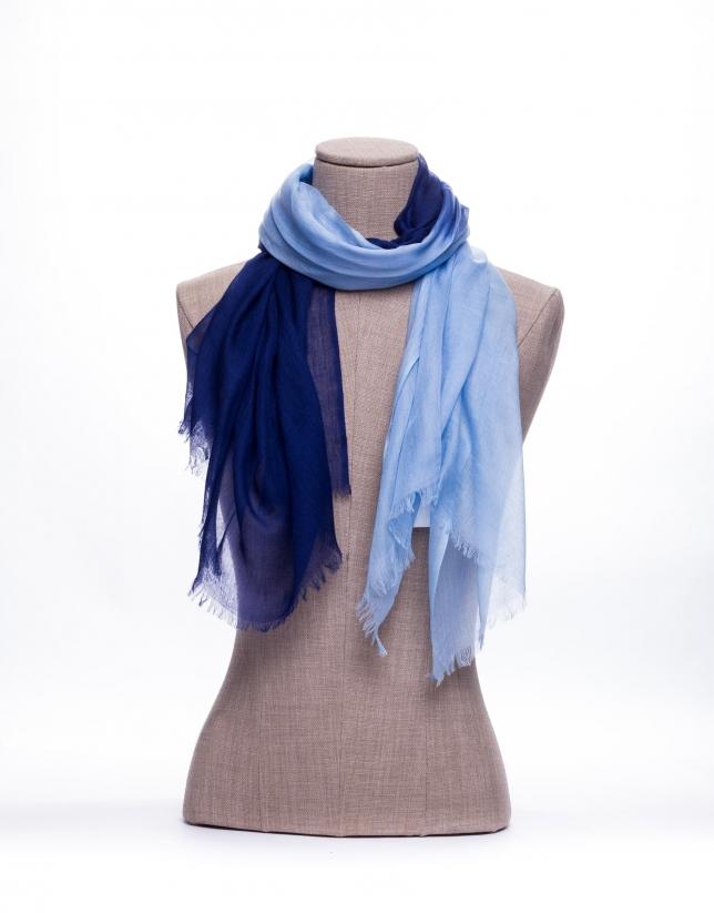 Bicolor blue scarf