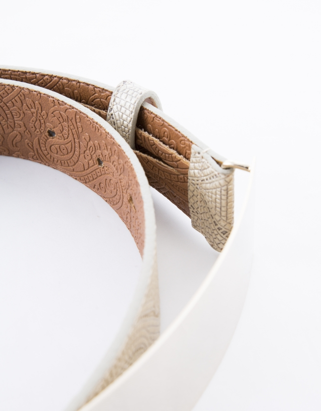 Narrow beige leather belt