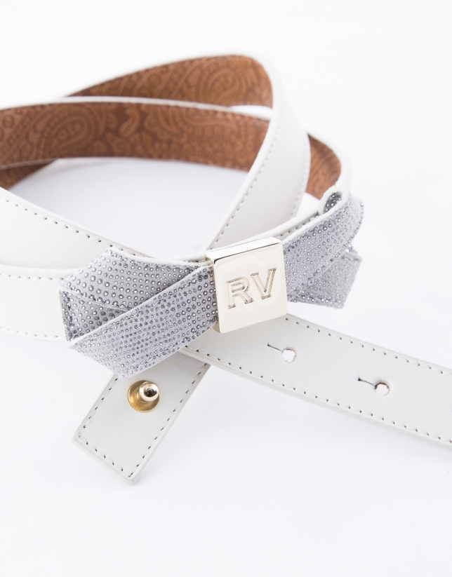 Narrow grey belt with bow