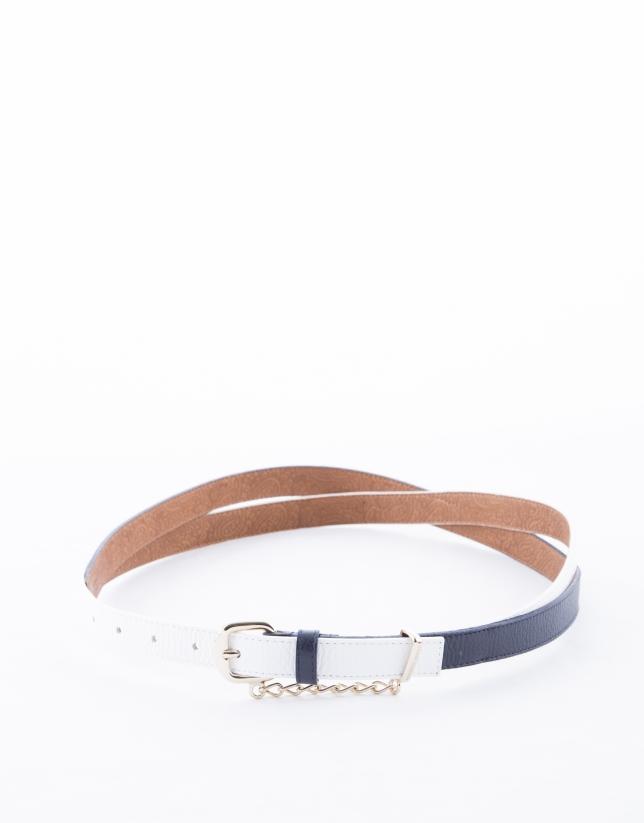 White and blue geometric belt