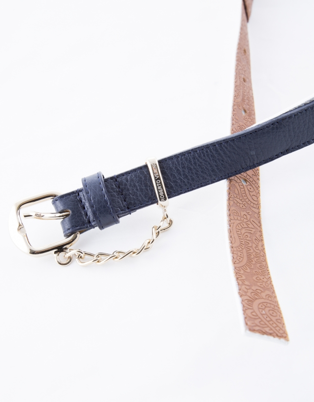 White and blue geometric belt