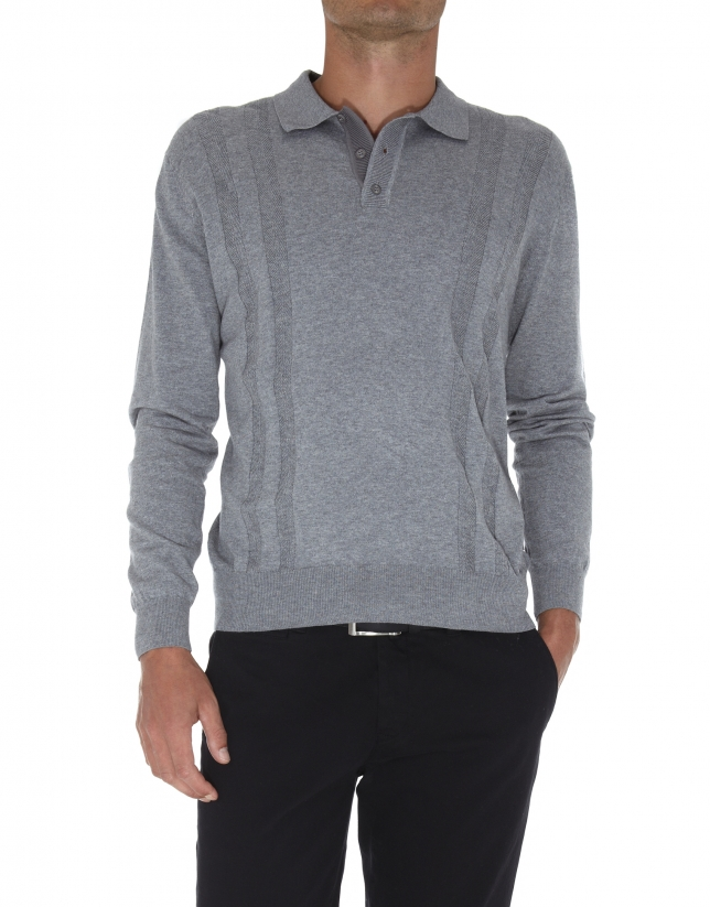 Plain tricot polo shirt