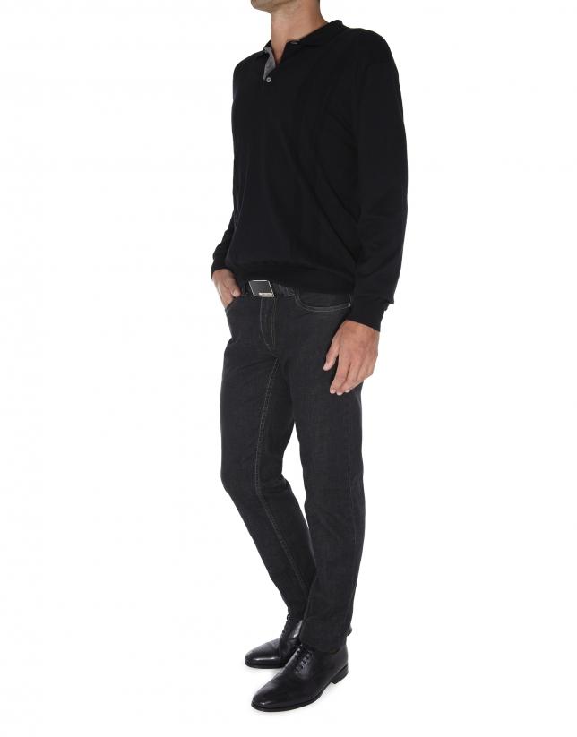 Plain tricot polo shirt