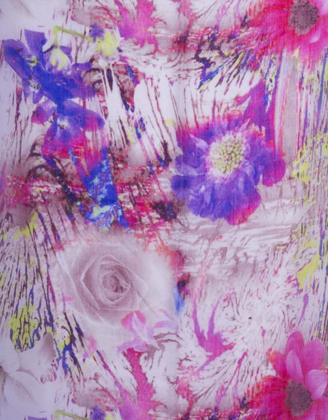 Étole à motif floral multicolore