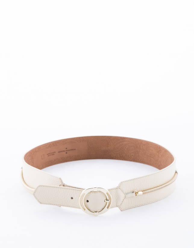 Wide beige leather belt