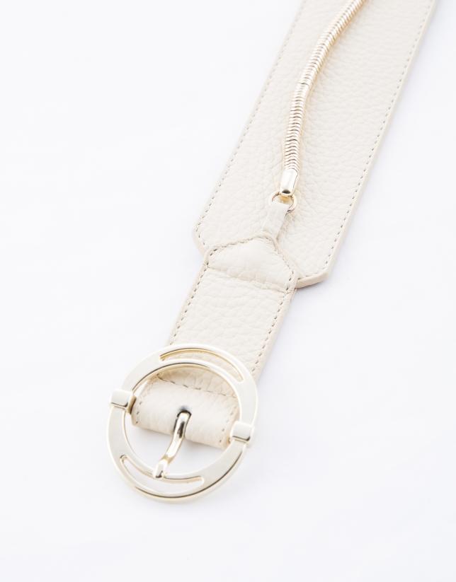 Cinturón ancho piel beige