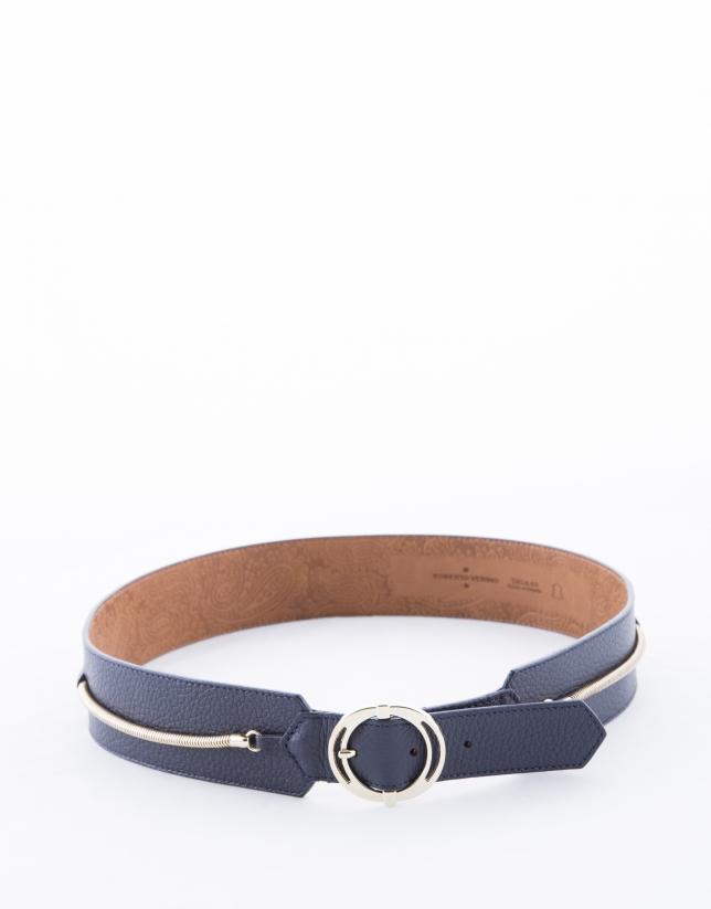 Wide navy blue leather belt