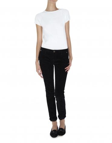 Pantalon noir, velours côtelé gravé arabesques