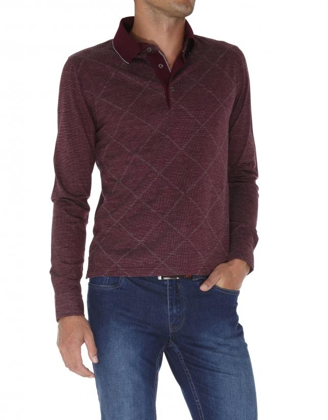 Diamond design jacquard polo shirt