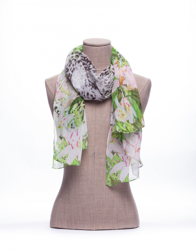Combined animal and lily print scarf