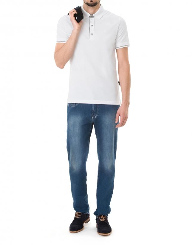 Plain white piqué polo
