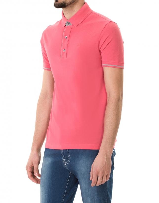 Plain pink piqué polo