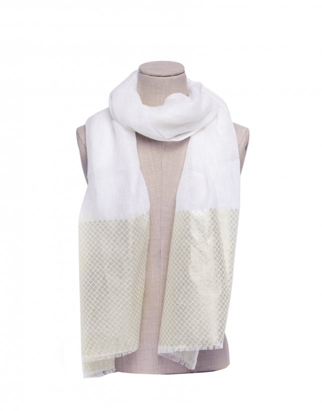 White scarf with gold border