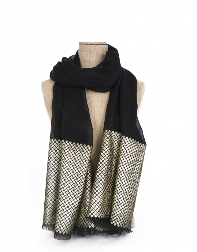 Black scarf with gold border