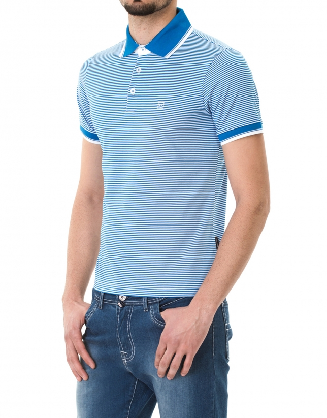 Turquoise and white striped polo