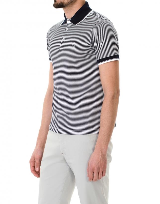 Polo à rayures bleu marine et blanc
