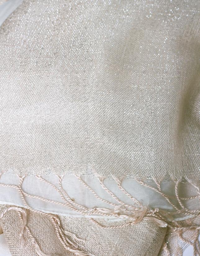 Foulard doble capa en tonos beige