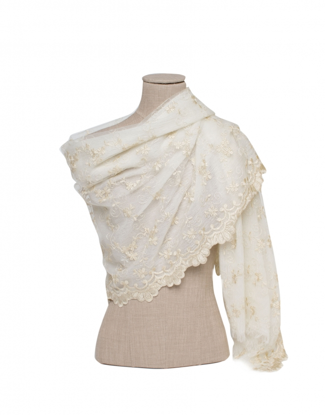 Stole in tul and gold lace