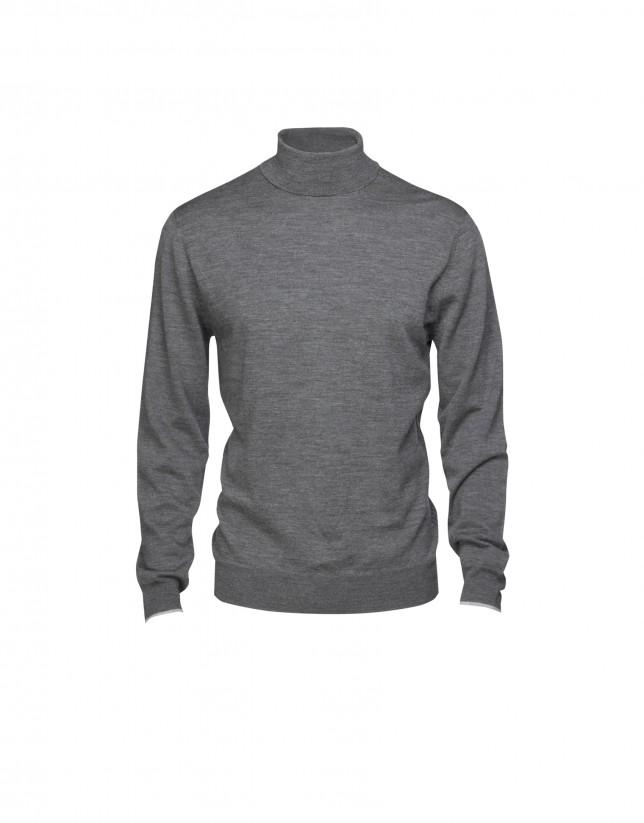 Jersey 100% lana gris
