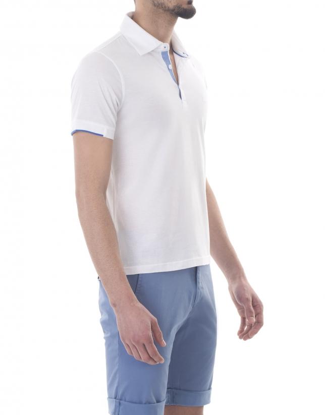 Polo en jersey uni blanc.
